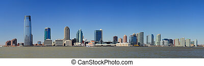 new jersey, horisont, från, new york city, manhattan, i...