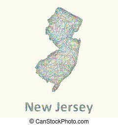 New Jersey line art map from colorful curved lines
