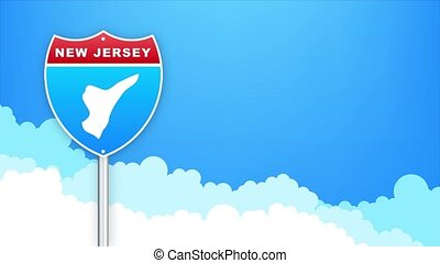 New Jersey map on road sign. Welcome to State of Louisiana. Motion graphics