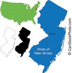 New jersey map - State of New Jersey, USA