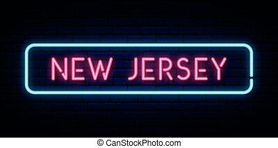 new jersey, néon, signe.