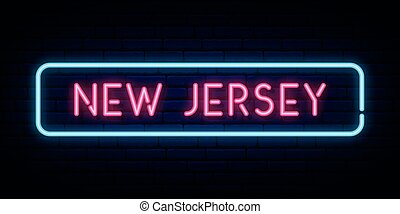 New Jersey neon sign. Bright light signboard. Vector banner.