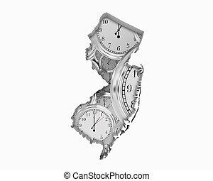 New Jersey NJ Clock Time Passing Forward Future 3d Illustration