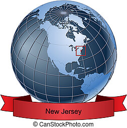 New Jersey, position on the globe Vector version with separate layers for globe, grid, land, borders, state, frame; fully editable