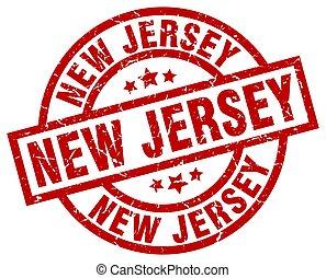 New Jersey red round grunge stamp