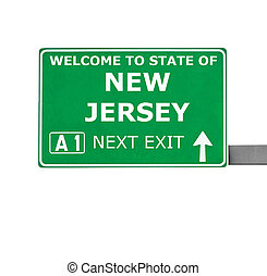 NEW JERSEY road sign isolated on white