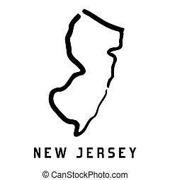 New Jersey simple logo. State map outline - smooth simplified US state shape map vector.