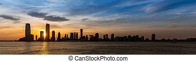 New Jersey Skyline building silhouette USA Sunset Panorama