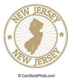 Grunge rubber stamp with the name and map of New Jersey, vector illustration