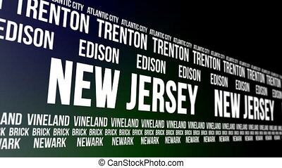 Animated scrolling banner with the New Jersey state name and some of the names of major and well known cities within the American state.