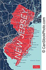 New Jersey state detailed editable map