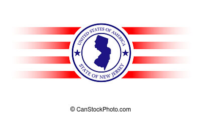 New Jersey state map and name stamp.