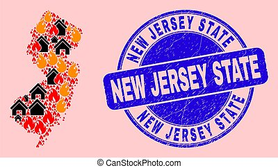 New Jersey State Map Composition of Fire and Buildings and Textured New Jersey State Seal