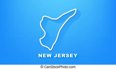 New Jersey state map outline animation. Motion graphics