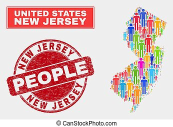 New Jersey State Map Population Demographics and Grunge Seal