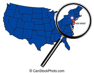 New Jersey state outline set into a map of The United States of America under a magnifying glass