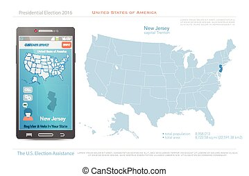 United States of America maps and New Jersey state territory. vector USA political map. US election assistance app for smart phone. technology banner