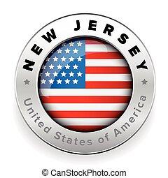 New Jersey Usa flag badge button vector