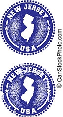 A couple of distressed stamps featuring a unique New Jersey state design.