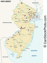 new jersey vector road map