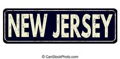 New Jersey vintage rusty metal sign on a white background, vector illustration