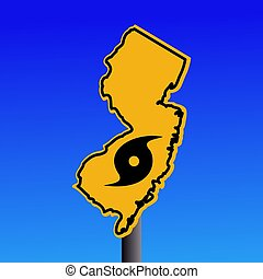 New Jersey warning sign with hurricane symbol illustration
