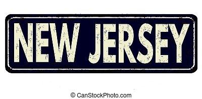new jersey, zeichen, rostiges , weinlese, metall