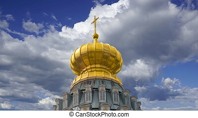 New Jerusalem against the moving clouds--  in town Istra, surroundings of Moscow, Russia