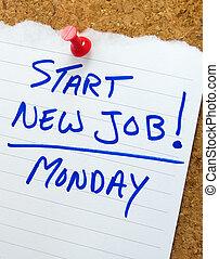 New job reminder pinned to a cork bulletin board