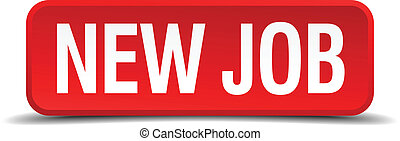 New job red 3d square button isolated on white