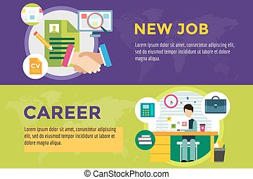 New job search and career work infographic. Cv, head...