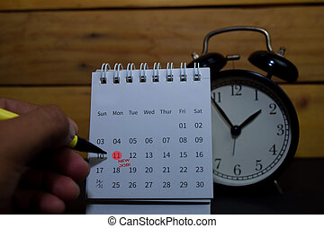 New Job write on calendar. Date 11. Reminder or Schedule Concepts
