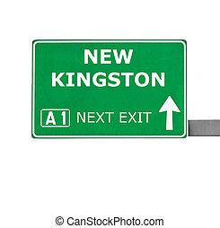 NEW KINGSTON road sign isolated on white