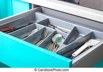 New kitchen drawer with utensils