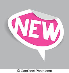 New Label. Vector Paper Oval Pink New Icon - Tag.