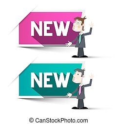 New Labels. Paper Vector New Tags with Businessmen. Businessman and Pink - Blue Labels with New Title Isolated on White Background.