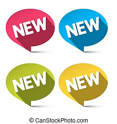 New Labels Set - Vector Colorful Ovals Tags Isolated on White Background