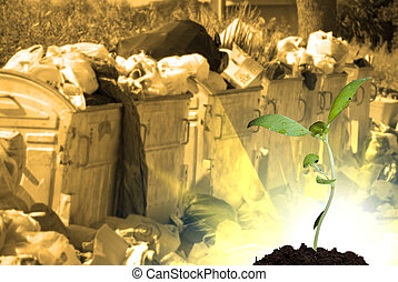 New life and pollution - New green life against refuse