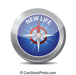new life compass illustration design over a white background