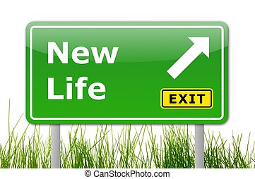 new life concept with road sign showing a change