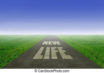 New life, fresh start concept with open road leading towards...