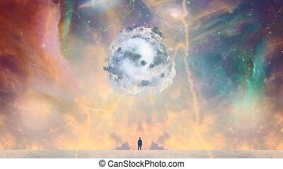 New Life from Space. Man in black suit before vivid nebula. Asteroid with green trees and clouds in the sky