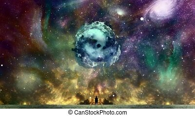 New Life from Space. Man in black suit before vivid nebula. Asteroid with green trees in the sky