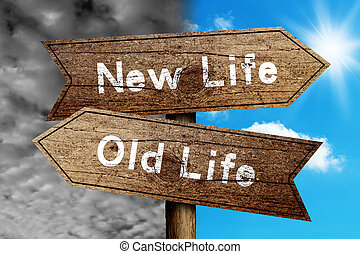 New Life Or Old Life concept road sign with cloudy and sunny sky background.