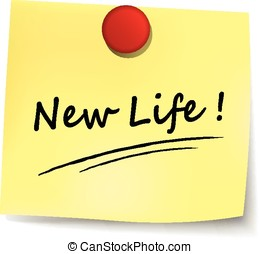 new life yellow note - illustration of new life yellow note...