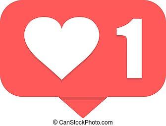New like notification. Heart icon. Vector illustration