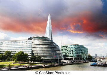 New London city hall with Thames river, panoramic view from Tower Bridge - UK