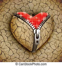 new love 3d concept - new shiny heart under broken one