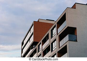 New luxury apartment building exterior