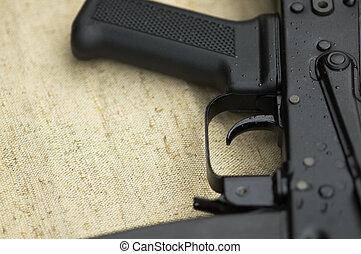gun - new machine-gun ,focus point on hammer